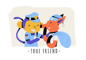 Véritable amitié drôle de singe et Fox Vector Illustration à plat