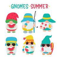 les gnomes d'été portent des chapeaux et des lunettes de soleil pour les voyages d'été à la plage vecteur
