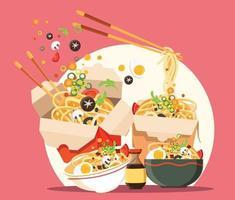 soupe traditionnelle chinoise avec nouilles nouilles ramen japonaises vecteur