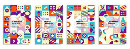 couverture abstraite définie fond de motif géométrique bauhaus vecteur