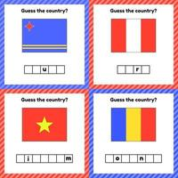 feuille de calcul sur la géographie pour les enfants d'âge préscolaire et scolaire vecteur