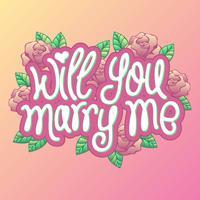 Rose Decoration Will You Marry Me Vecteur de proposition d'engagement