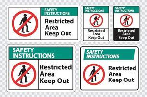 consignes de sécurité zone restreinte symbole d'interdiction vecteur