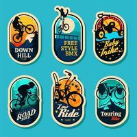 collection de badges de style vélo divers vecteur