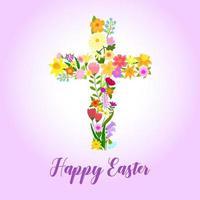 croix chrétienne de feuilles vertes et de fleurs vecteur