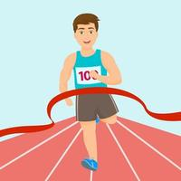 garçon, course, course, gagnant, marathon vecteur