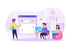 développement de logiciels de programmation au bureau concept illustration vectorielle de personnages de personnes au design plat vecteur