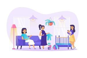 Illustration vectorielle de grossesse et maternité concept de personnages de personnes au design plat vecteur