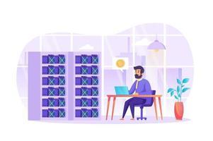 crypto-monnaie minière et technologie blockchain concept illustration vectorielle de personnages de personnes au design plat vecteur