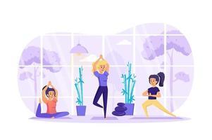 femmes, faire, yoga, asanas, dans, studio, concept, vecteur, illustration, de, gens, caractères, dans, plat, conception vecteur