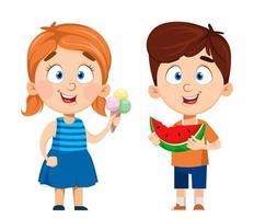 personnages de dessins animés garçon et fille ensemble de deux poses vecteur