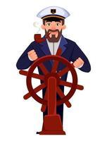 capitaine du navire en uniforme professionnel vecteur