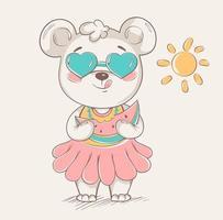 mignon petit ours en jupe colorée et lunettes de soleil vecteur