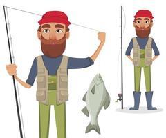 personnage de dessin animé de pêcheur vecteur