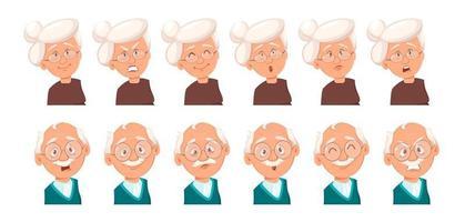 expressions du visage du grand-père et de la grand-mère vecteur