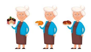 grand-mère ensemble de trois poses vecteur