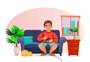 rester à la maison concept homme jouant à des jeux vidéo vecteur