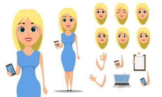 ensemble de création de personnage de dessin animé femme daffaires vecteur