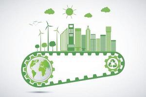concept d'engrenage d'écologie et développement énergétique durable environnemental vecteur