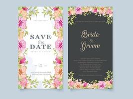 modèle de concept floral carte invitation de mariage avec fleurs et feuilles vecteur