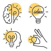 ensemble de conceptions vectorielles de brainstorming et idée concept vecteur