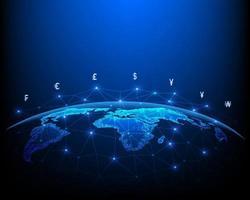 concept de réseau de transfert d'argent et symbole de change vecteur