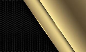 Chevauchement doré de luxe abstrait sur maille hexagonale gris foncé modèle design illustration vectorielle de fond futuriste moderne vecteur