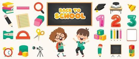 fournitures scolaires pour l'éducation des enfants vecteur