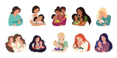 ensemble d'avatars de famille. maman embrasse les enfants. joyeuse fête des mères. visages souriants de personnes attentionnées et aimantes. des gens joyeux de différentes nationalités. vecteur