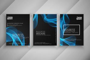 Ensemble de conception ondulé élégant brochure entreprise élégant vecteur