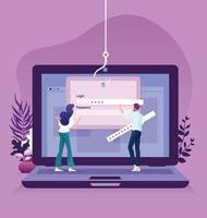 Data phishing hacking scam en ligne sur le concept d'ordinateur vecteur