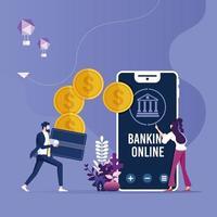 transfert d'argent en ligne, concept de paiements mobiles avec smartphone et portefeuille vecteur
