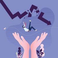 Aider la main au sauvetage d'un homme d'affaires tombant d'une flèche cassée vecteur
