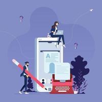 concept de création d'articles de blog écrivain de contenu vecteur