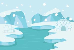 Paysage arctique du pôle nord avec igloo de glace vecteur