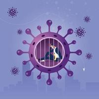 distance sociale ou auto-quarantaine du concept de coronavirus vecteur
