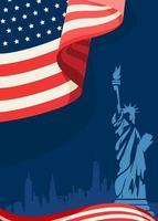 affiche avec drapeau américain et statue de la liberté vecteur