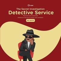conception de bannière de modèle de style de dessin animé de service de détective d'enquête secrète vecteur