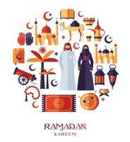 ensemble d'icônes ramadan kareem d'arabe vecteur