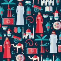 Ensemble d'icônes ramadan kareem de design plat arabe. vecteur