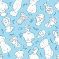 La Grèce antique et Rome définissent le modèle sans couture de vecteur de tradition et de culture. la tendance linéaire du motif de surface antique, de la Grèce antique et de la Rome antique. motif de surface sur bleu.