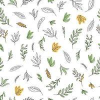 illustration vectorielle simple art ligne peinte à la main avec des feuilles. le motif naturel sans couture pour le papier peint, le papier d'emballage, la conception de surface. vecteur