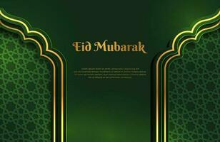 bannière de fond de luxe vert foncé et or avec ornement mandala arabesque islamique modèle de conception eid mubarak vecteur