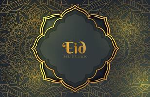 bannière de fond de luxe or noir avec ornement mandala arabesque islamique modèle de conception eid mubarak vecteur