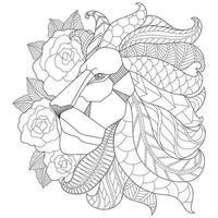 croquis dessiné main lion et rose pour livre de coloriage adulte vecteur