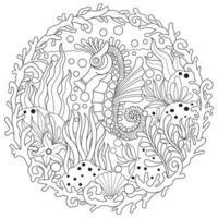 cheval de mer sous la mer croquis dessiné main pour livre de coloriage adulte vecteur