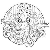 Croquis dessiné main poulpe mignon pour livre de coloriage adulte vecteur