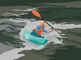 aventure en kayak sur le vecteur graphique illustration