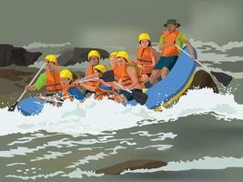 aventure de rafting en illustration vectorielle graphique vecteur