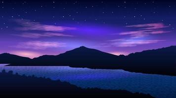 rivière au fond de paysage du soir vecteur
